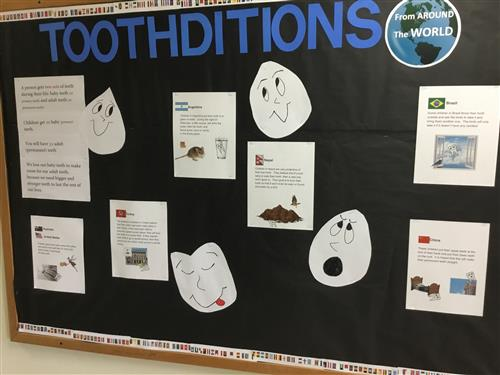 Bulletin board with tooth traditions from around the world.