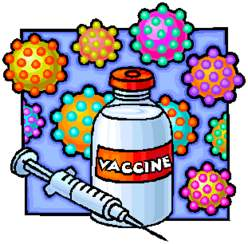 Drawing of vaccine and germs