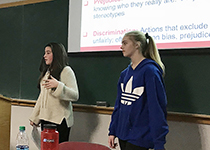ADL World of Difference students presenting to a class at UVM