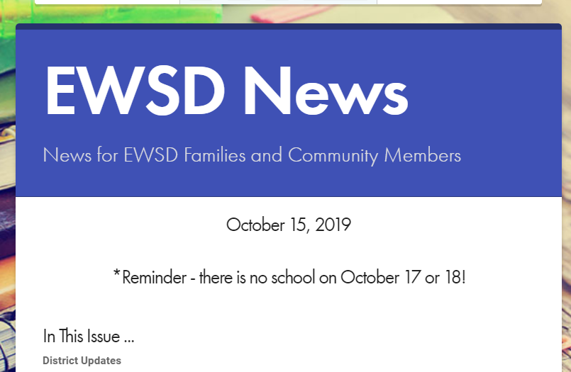 A snapshot of the EWSD News for families and community.