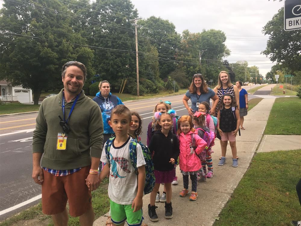 Children and staff walking to school