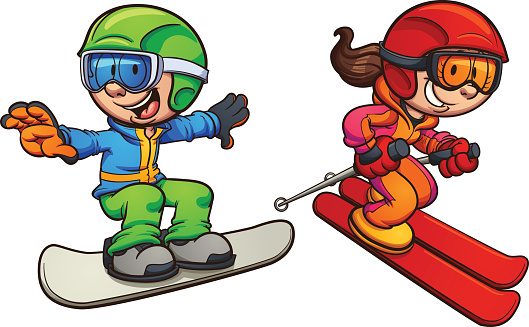 Kids skiing and riding