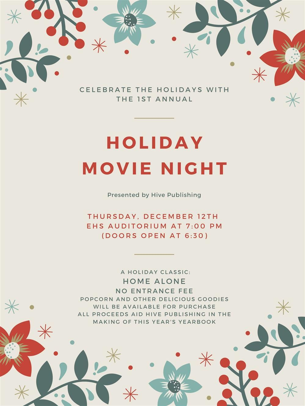 Flyer for Holiday Movie Night