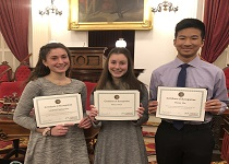 Image of EHS Presidential Scholars, from left to right: Lindsey Centracchio, Riley Allen, Henry Wu.