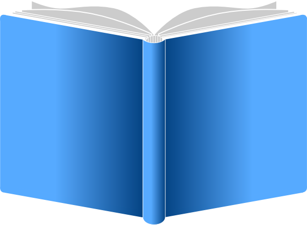 picture of a blue colored book that is open