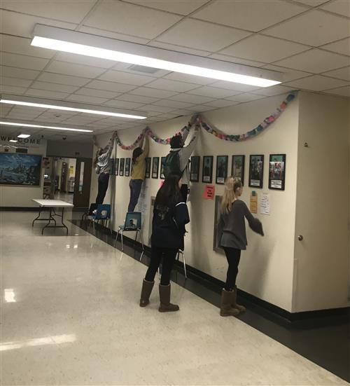 Students Hanging Paper Chain