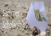 Text reads Summer Scholarships. Image of envelope with money in the sand.