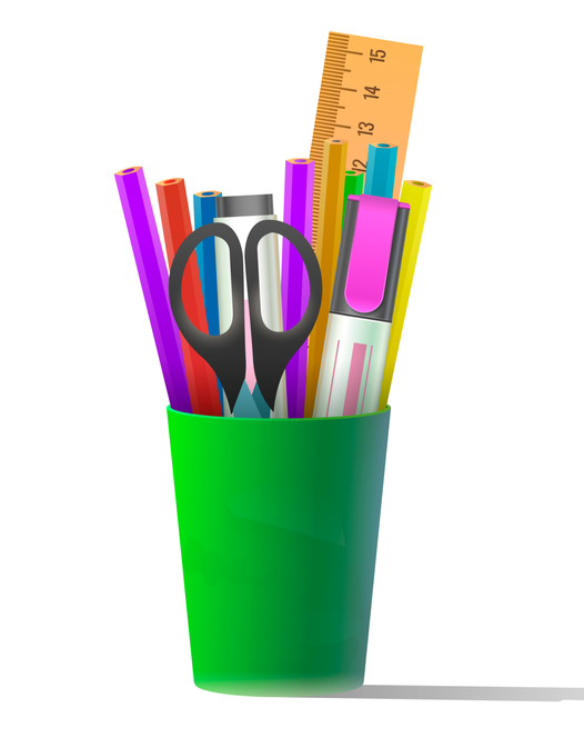 Supplies and pencil cup