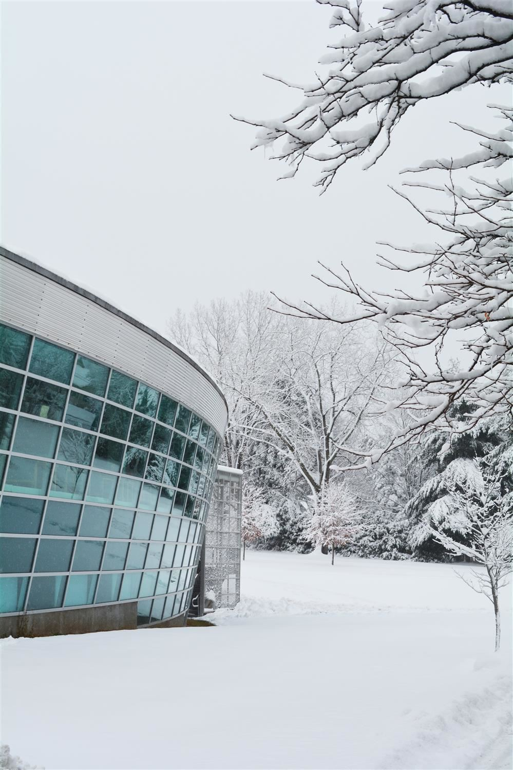 Library view from the outside with snow