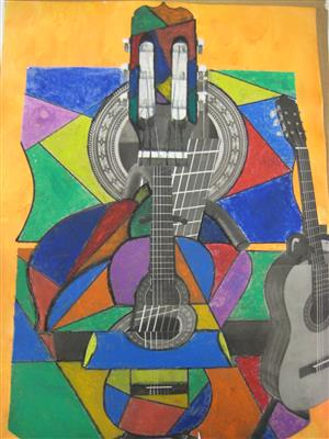 Collage and oil pastels: Guitar