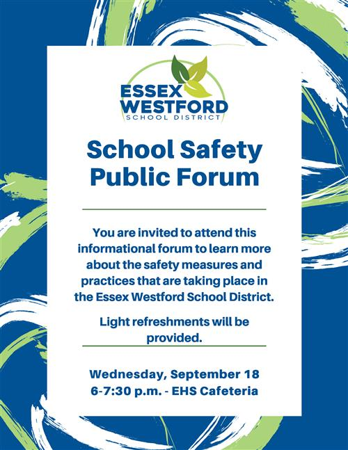 School Safety Public Forum flyer