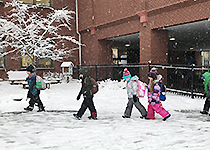 Summit students walking in the snow