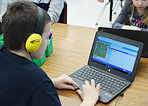 EES student taking part in the Hour of Code