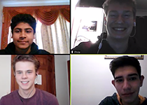Four students taking part in a Zoom meeting