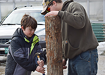 CTE student helping a younger student learn how to tap a maple tree