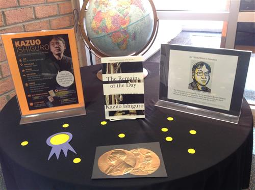 Display honoring Kazuo Ishiguro's 2017 Nobel Prize for Literature