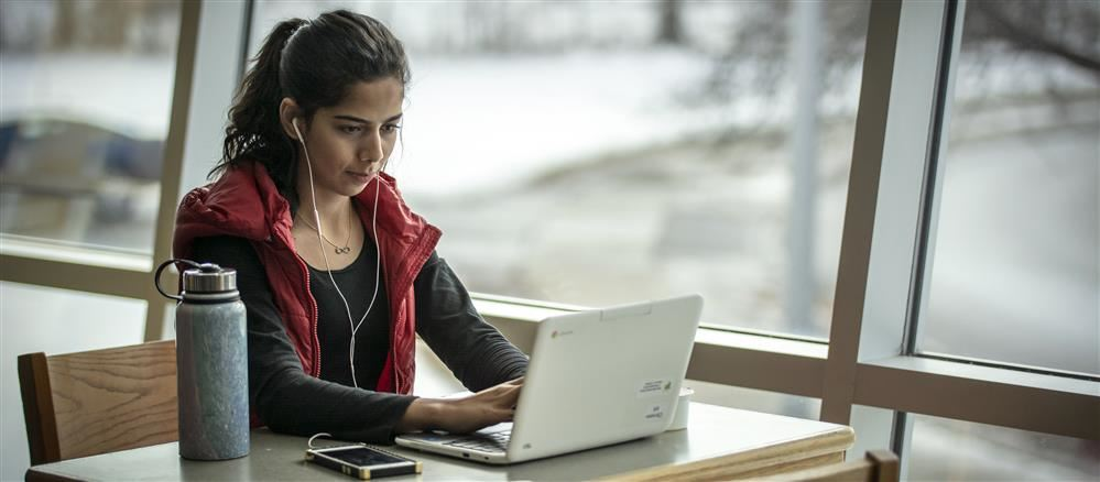 Image of Student Working at Chromebook by the Windows