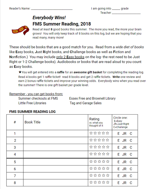 FMS Summer Reading Log