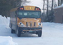 Bus parked in the snow
